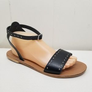 ASOS 8 Black Leather Sandals Studs Ankle Strap